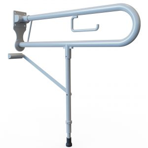 Alutec Hinged Support Rail With Leg & Toilet Roll Holder
