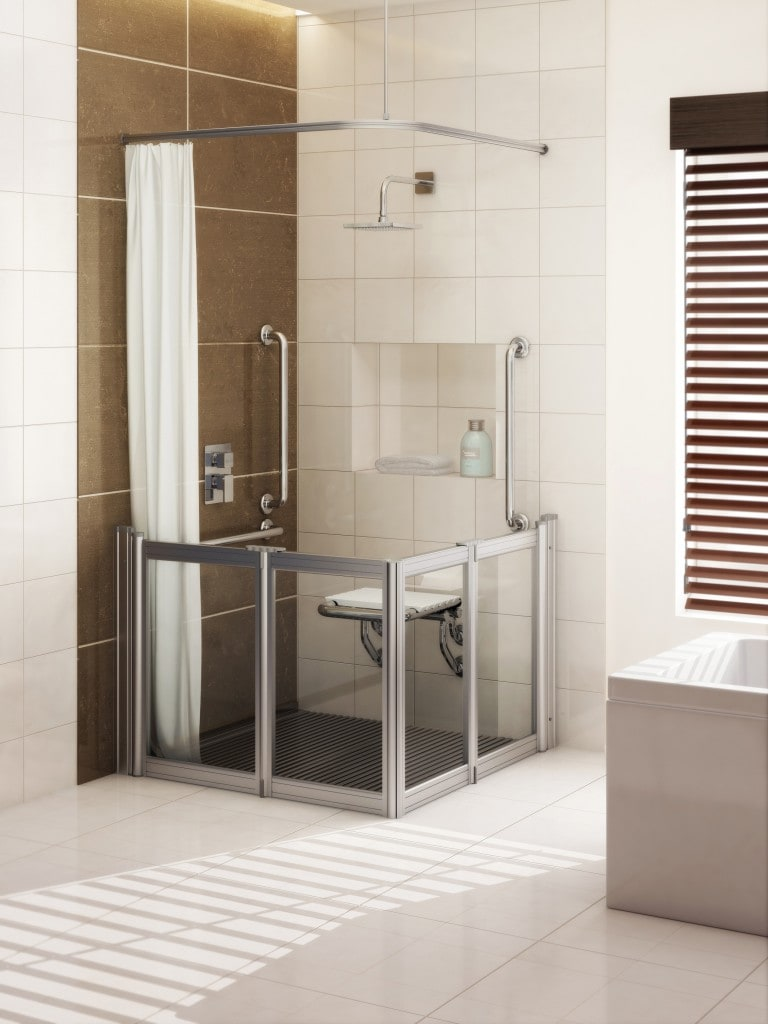 Neaco's Chrome-effect grab rails and shower seat with their shower doors and shower grille in the Metallique satin aluminium finish.