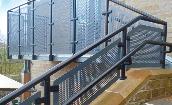 Balustrade (seen here with a powder coated finish) manufactured from aluminium alloy which is up to 100% recyclable