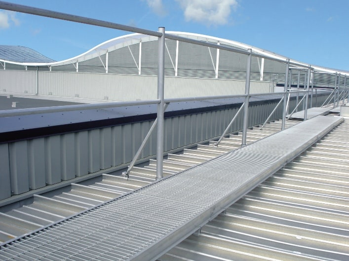 Aluminium is ideal for all kinds of building elements, such as roof access walkways, balustrade and handrails