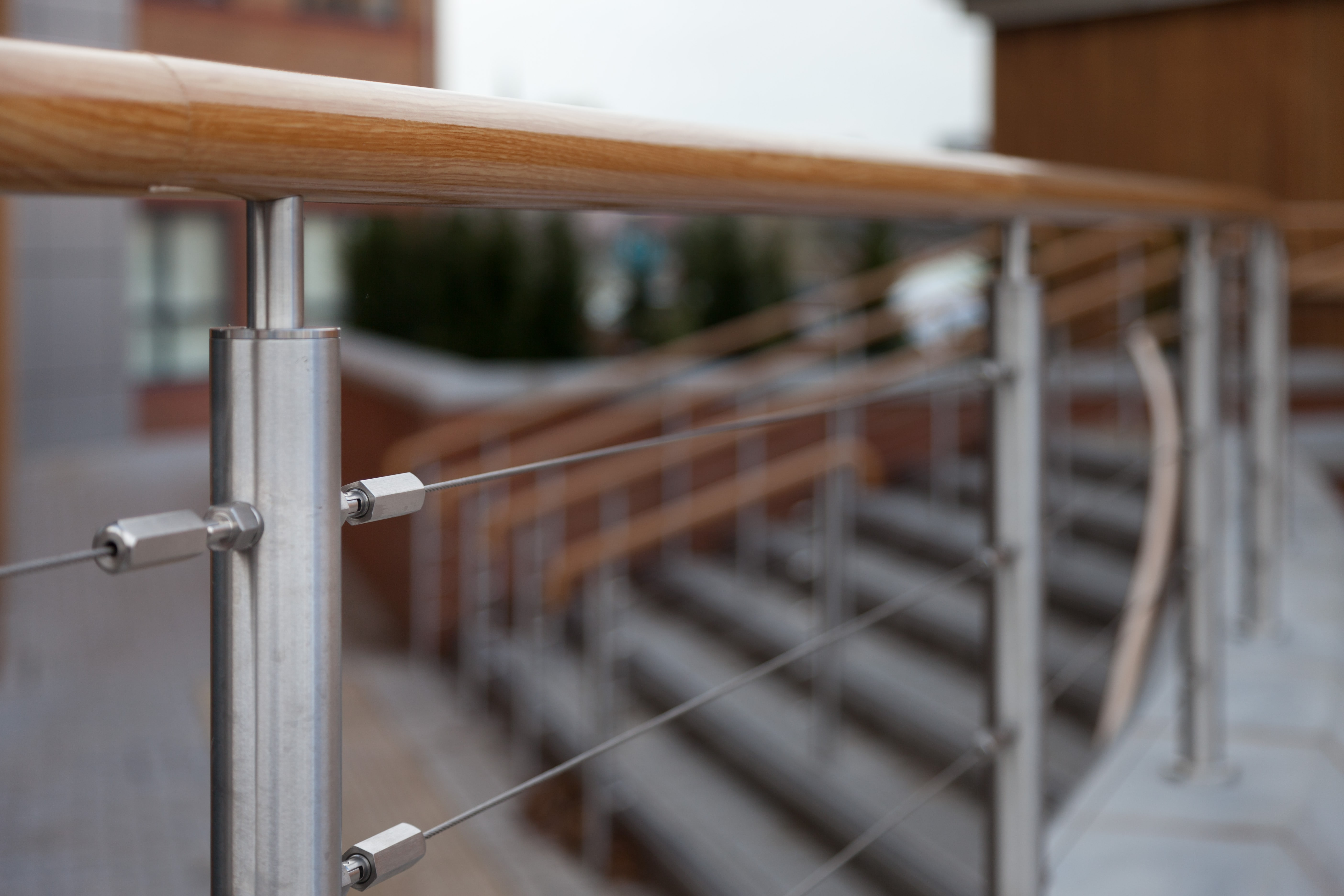 wood effect handrails and balustrade chosen at college. Black Bedroom Furniture Sets. Home Design Ideas